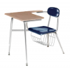 """Columbia Manufacturing 17.5"""" Seat Height Tablet-Arm Chair-Desk with Book Basket - Blue Seat, Sand Top and Chrome Frame"""