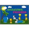 Flagship Carpets CE147-14W Welcome Mat Friends Safari 2' x 3' Educational Rug