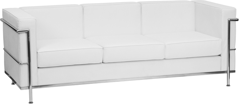 Signature Regal Series Contemporary White Leather Sofa With Encasing Frame