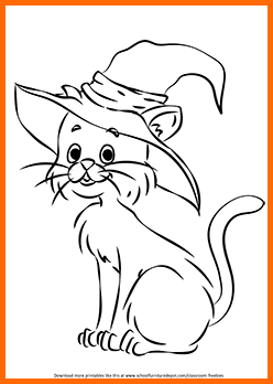 Free Halloween Cat Coloring Page